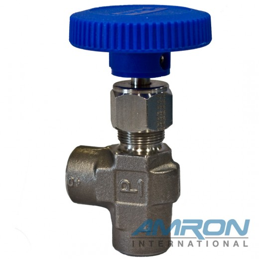 Needle Valve Angle 1/4 inch FNPT - Stainless Steel - Blue Handle