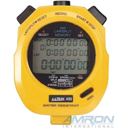 Ultrak 495 - 100 Lap Memory Stopwatch - Yellow