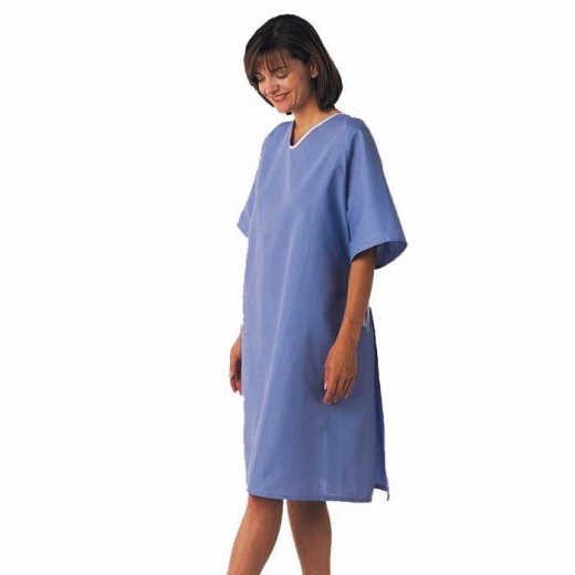 Case of 12 Hyperbaric Patient Gowns - 100% Cotton - Tie-side - One Size Fits All