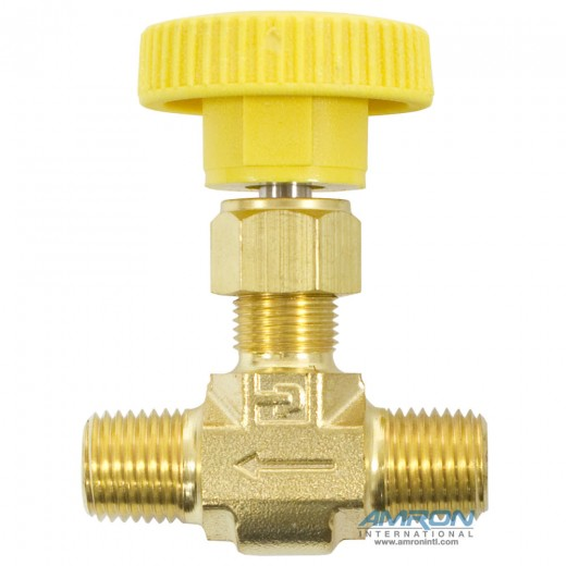 4M-V4LK-B-YEL - Needle Valve Inline 1/4 in. MNPT - Brass - Yellow Handle