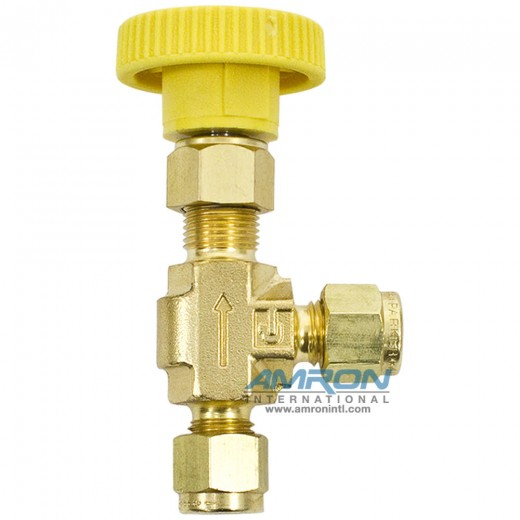 4Z-V4AK-B-YEL - Needle Valve Angle 1/4 in. CPI Compression Connection - Brass - Yellow Handle