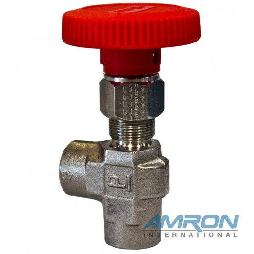 Needle Valve Angle 1/4 inch FNPT - Stainless Steel - Red Handle