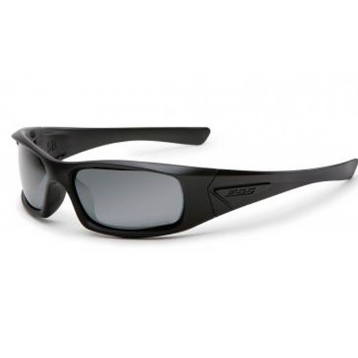 5B Ballistic Sunglasses - Black Frame with Polarized Mirrored Gray Lenses