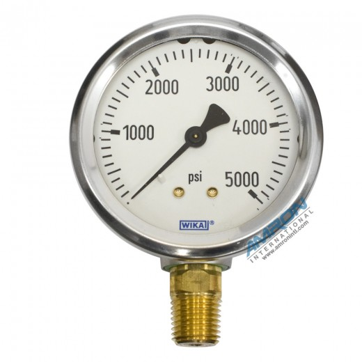 Model 212.53 Bourdon Tube Dry Case Pressure Gauge 2.5 in. 0-5000 PSI 1/4 in. NPT - Lower Mount - No Flange