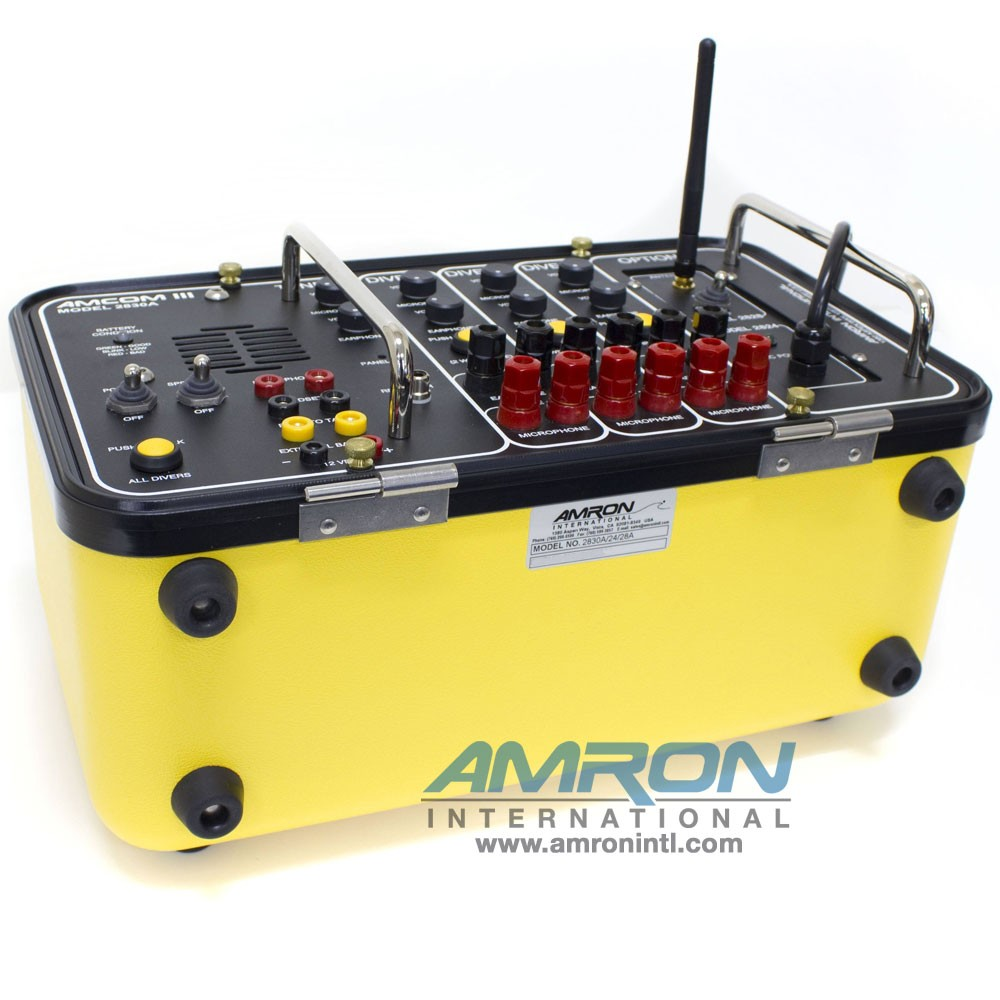 Amron International Amcom III 3-Diver Portable Rechargeable Communicator - Internal Charger, MS Connectors with Wireless Tender Option
