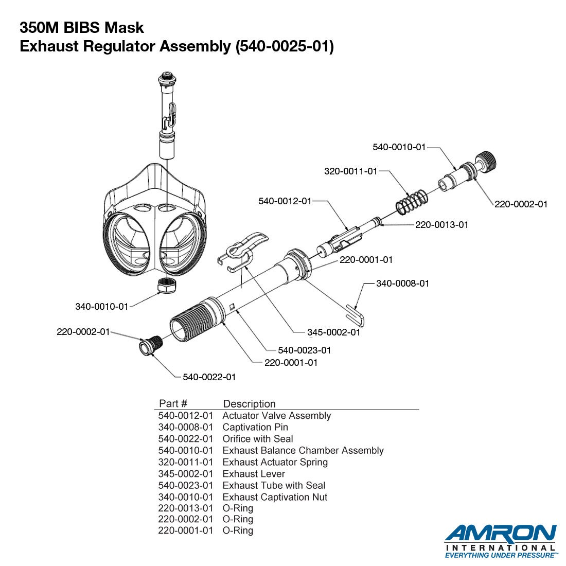 Amron International 350M BIBS Mask - Head Support Breakout Exhaust Assembly Breakout