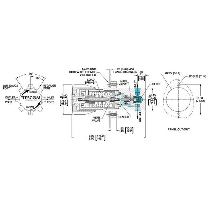 TESCOM 44-1100 Series Pressure Reducing Regulator Diagram