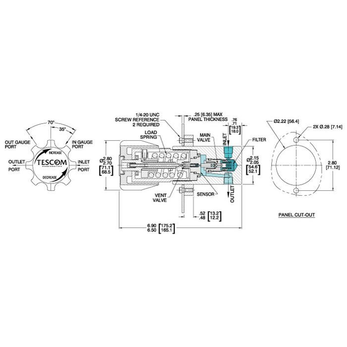 TESCOM 44-1100 Series Pressure Reducing Regulator - Diagram