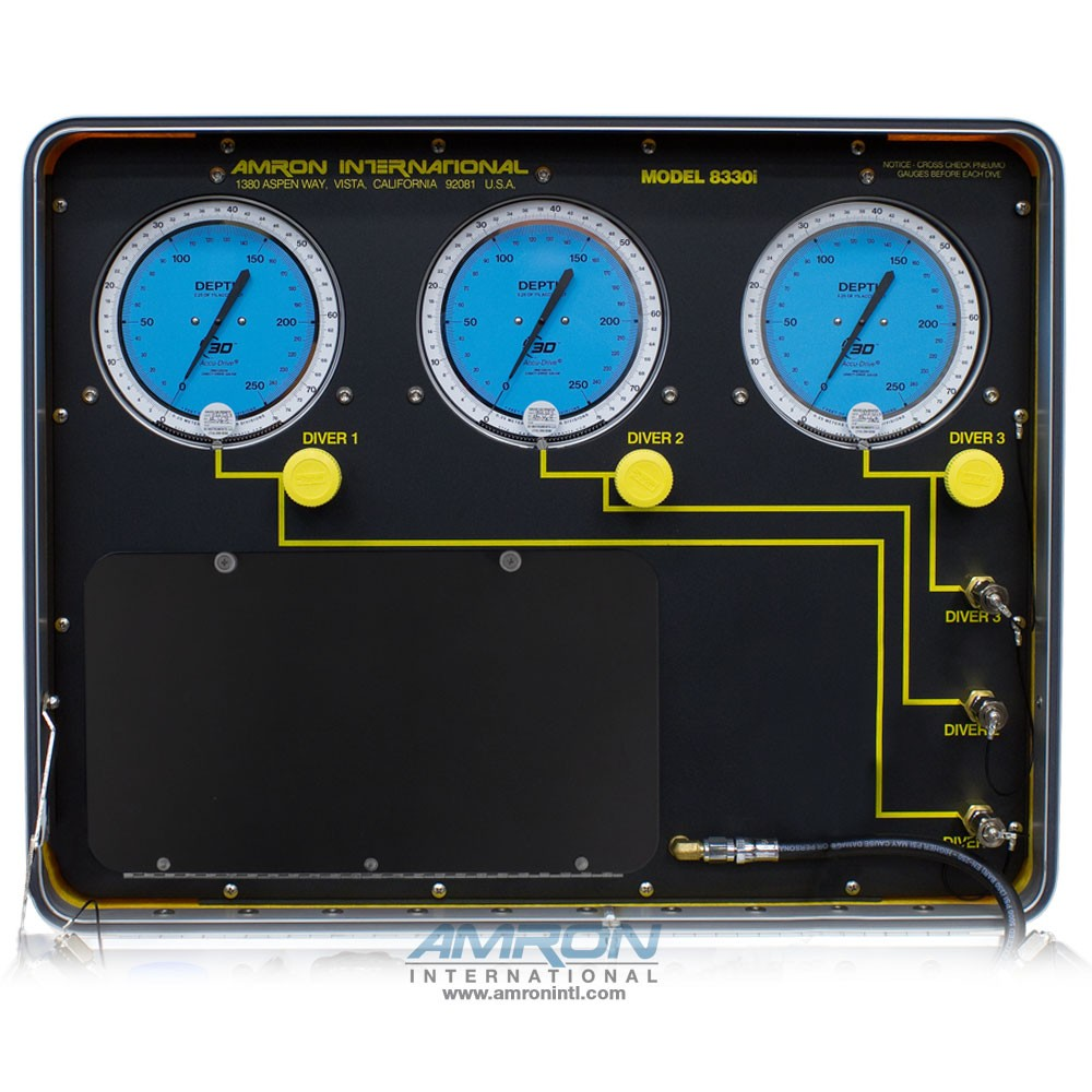 Amron International Model 8330i Air Control and Depth Monitoring System for 3 Divers Front Panel Lid 8330i