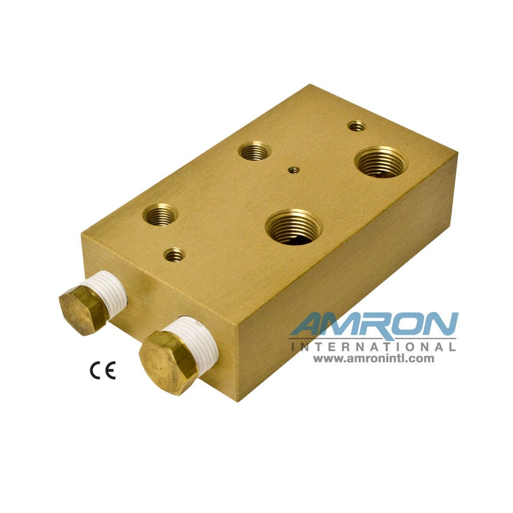 Amron International 8000-002 Chamber BIBS Manifold Block with 2 Ports-Front