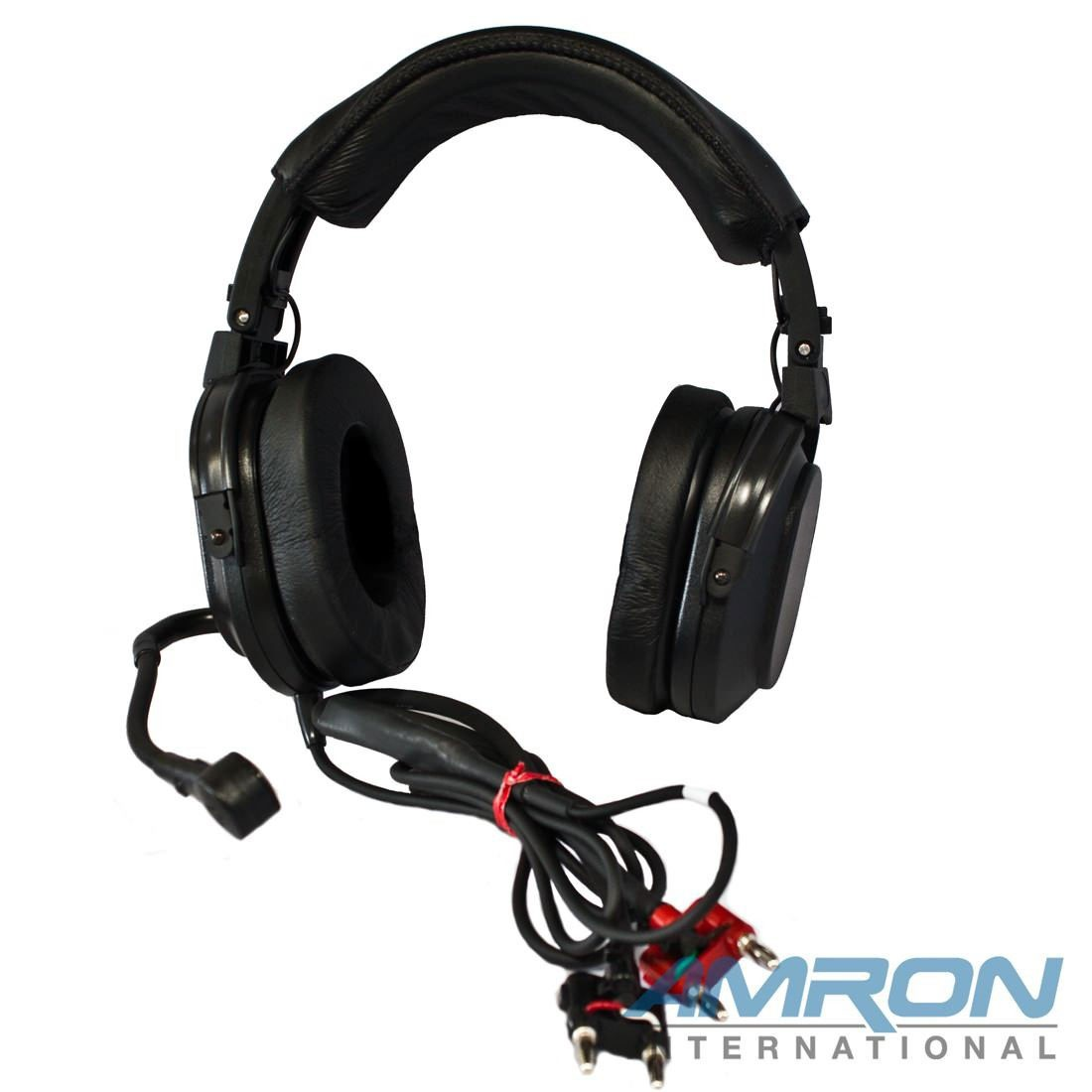 Amron International Model 2401-28 Deluxe Headset with Boom Mic and Dual Banana Plugs