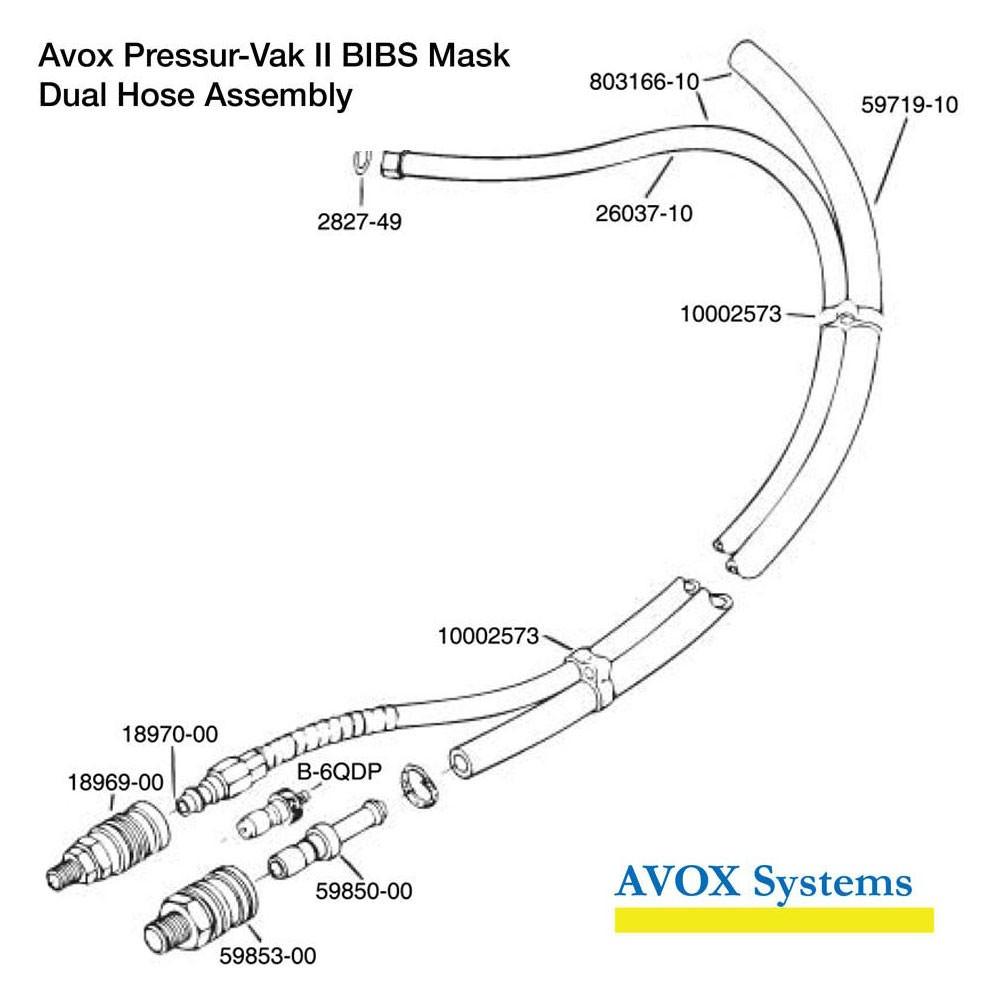Avox Pressur-Vak II BIBS Mask - Dual Hose Assembly
