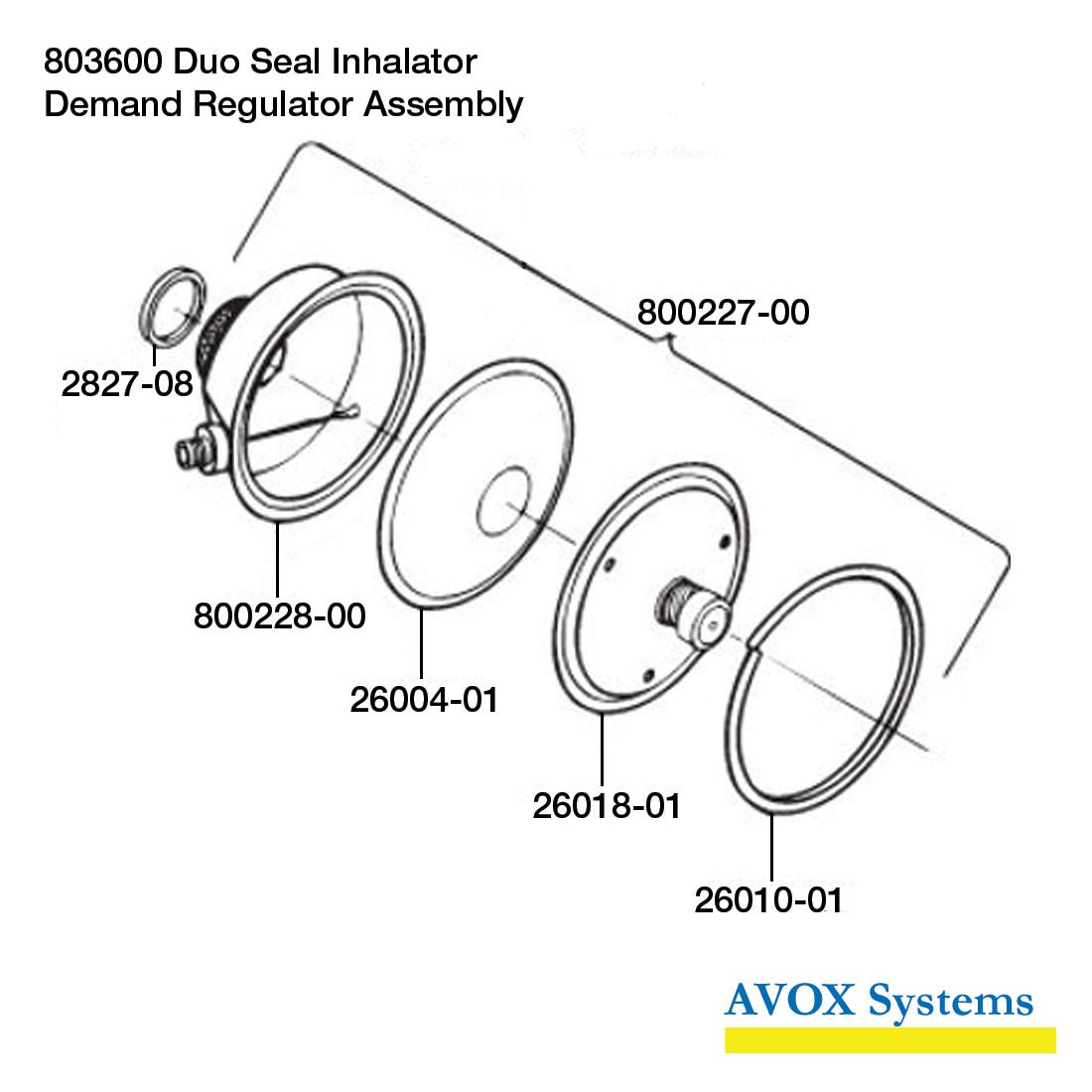 Avox Series 803600 Duo Seal Inhalator without 1st Stage Regulator Assembly without Microphone Assembly 803600-02 - Demand Regulator Assembly