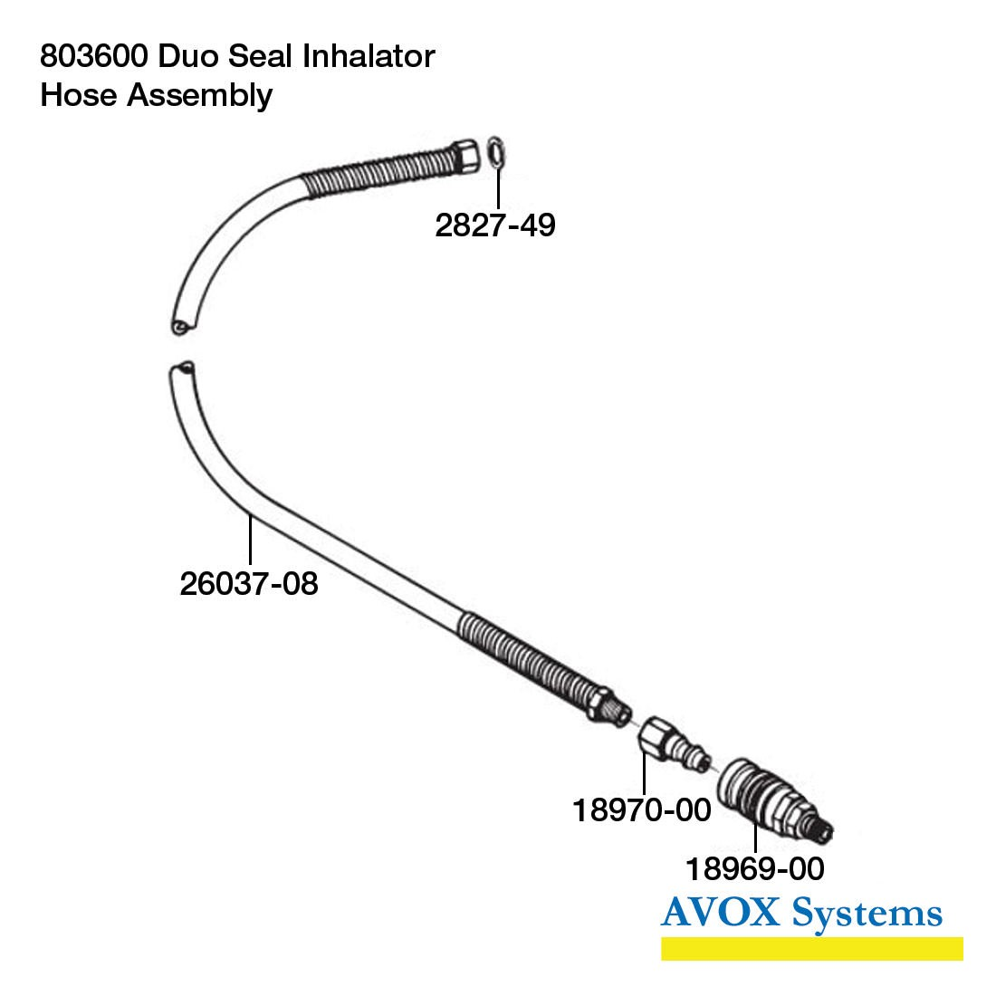 Avox Series 803600 Duo Seal Inhalator without 1st Stage Regulator Assembly without Microphone Assembly 803600-02 - Hose Assembly