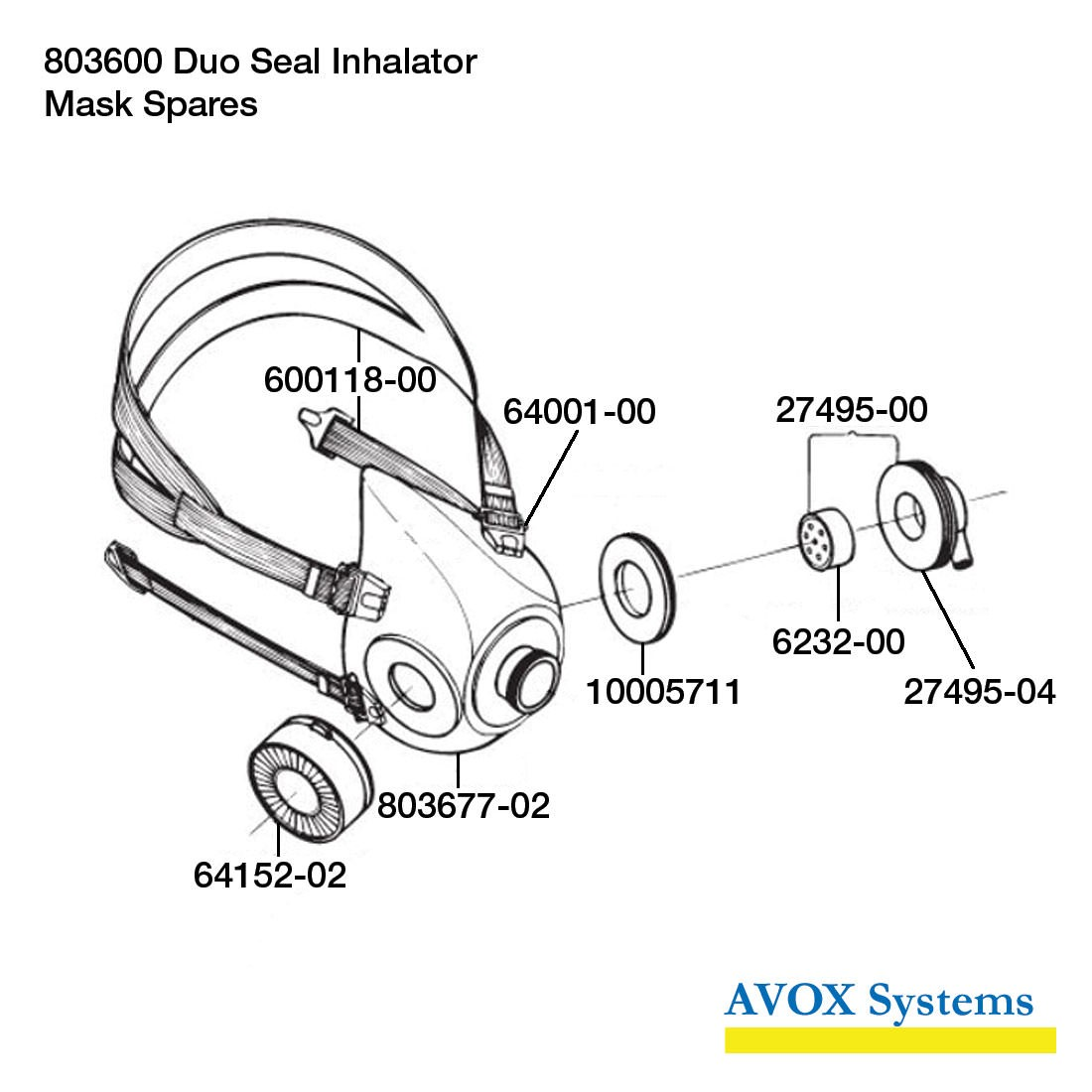 Avox 803600-03 Duo Seal Inhalator without 1st Stage Regulator without Microphone without Hose Assembly - Side - Mask Spares