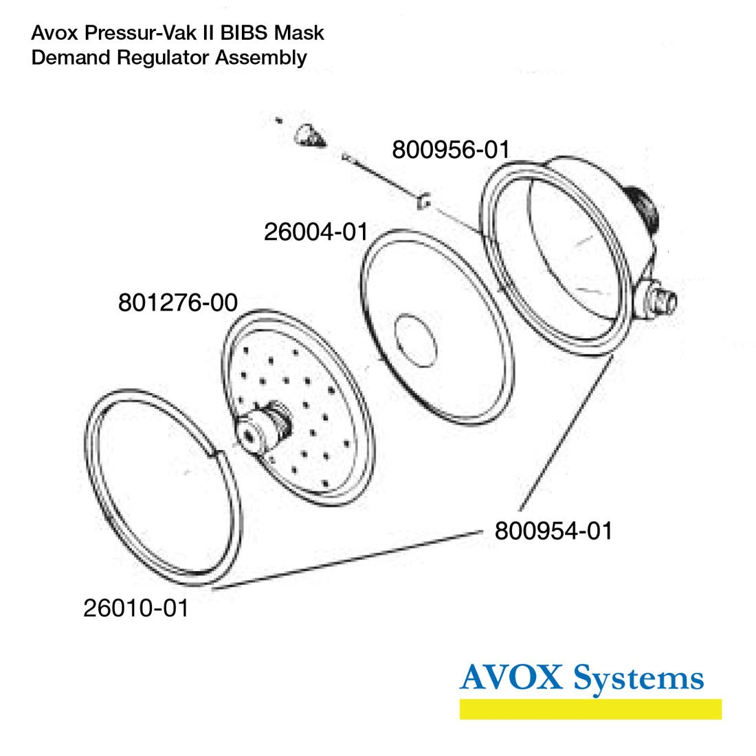 Avox 803139-01-XX Pressur-Vak II - without Face Seal/Harness without 1st Stage Regulator Assembly without Microphone - Demand Regulator Assembly