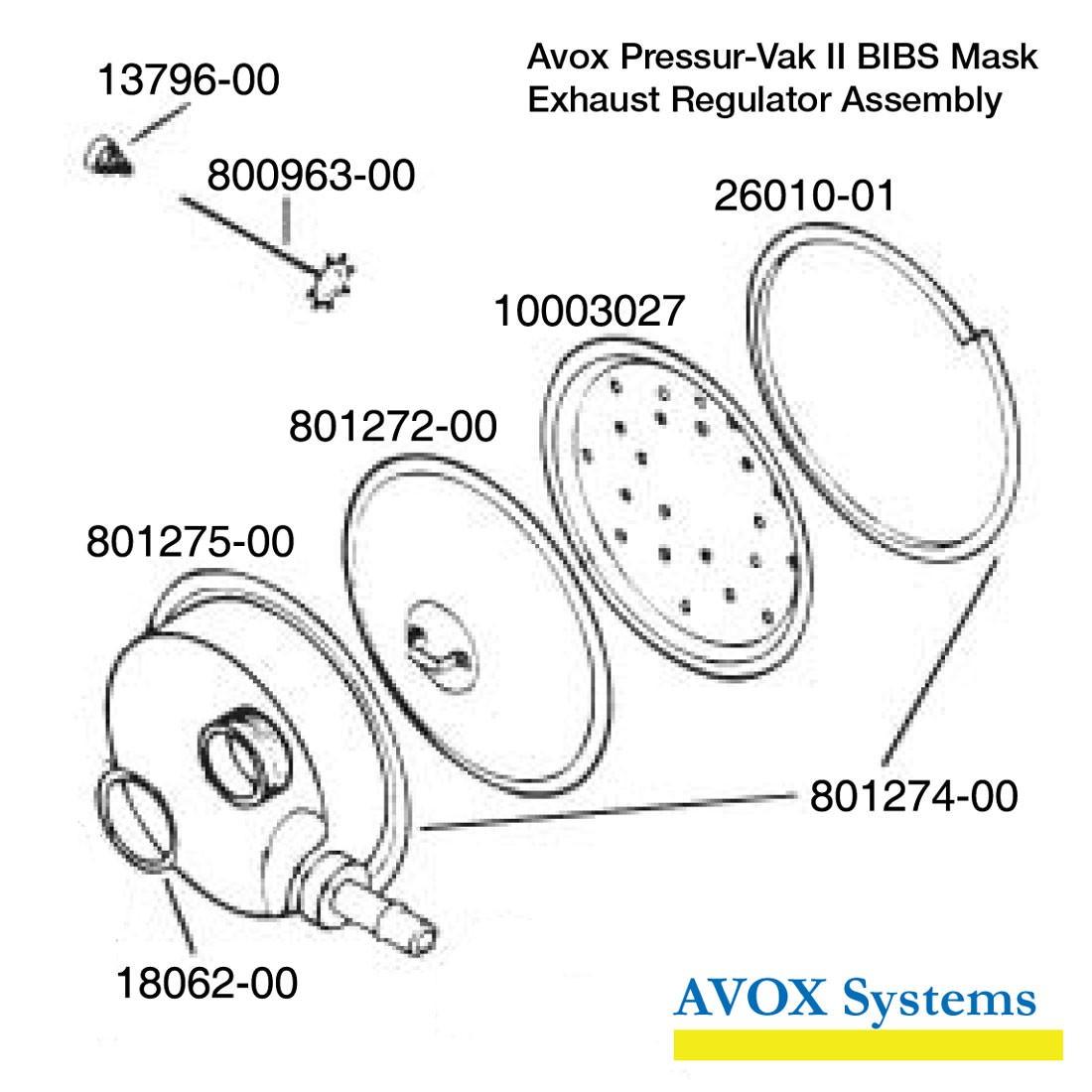 Avox 803139-01-XX Pressur-Vak II - without Face Seal/Harness without 1st Stage Regulator Assembly without Microphone- Exhaust Regulator Assembly