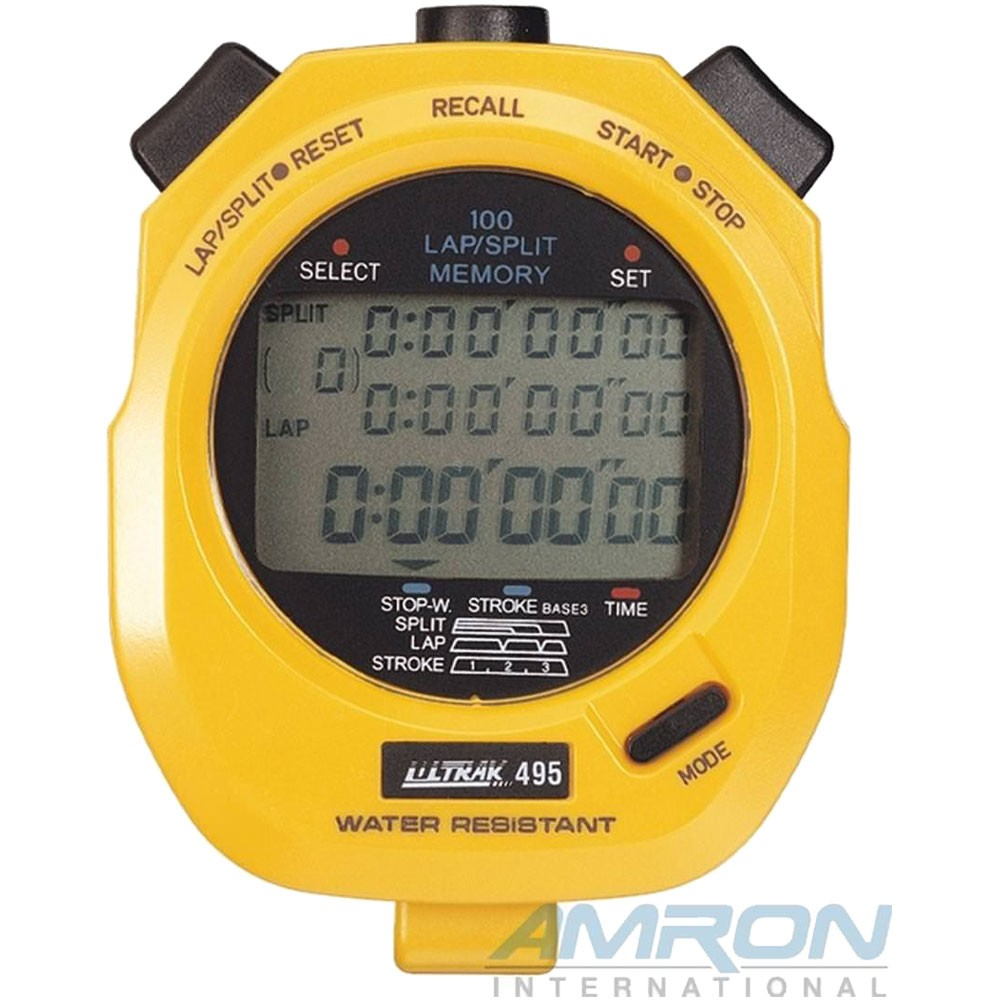 CEI Ultrak 495 - 100 Lap Memory Stopwatch - Yellow 495-YEL