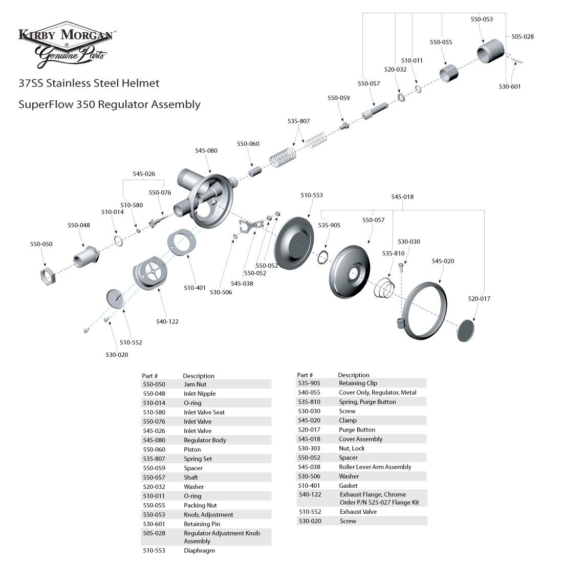 Kirby Morgan 37SS Stainless Steel Commercial Diving Helmet - SuperFlow 350 Regulator