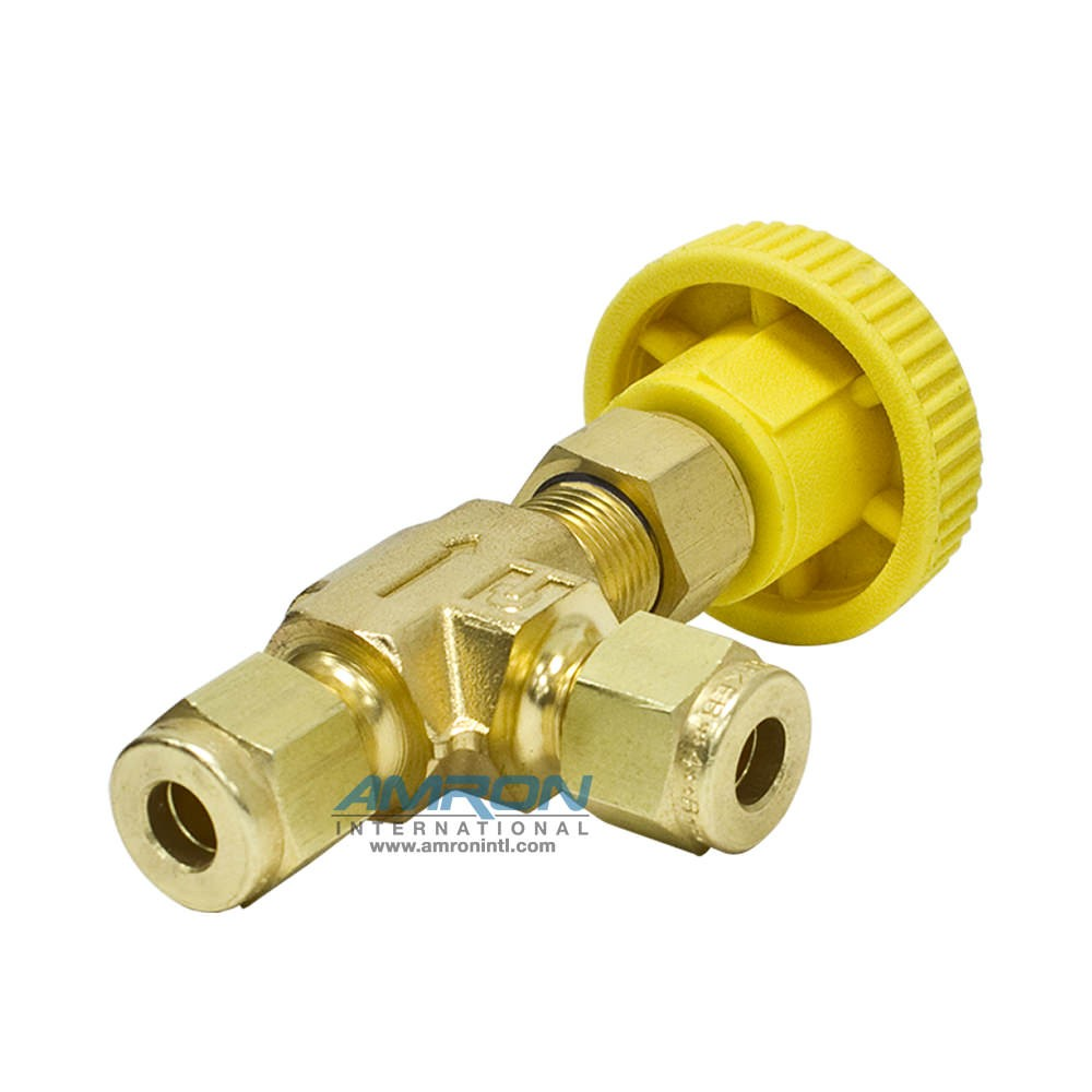 Parker Needle Valve Angle 1/4 in. CPI Brass Yellow Handle
