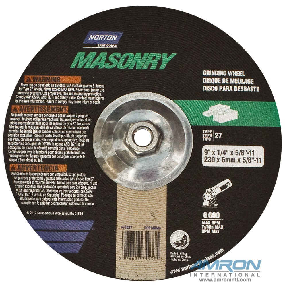 Stanley 02588 Grinding Wheel for Masonry - 9 in. dia. 5/8 in. - 11 Thread