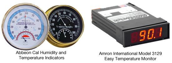 Abbeon Cal Humidity and Temperature Indicators and the Amron International Model 3129 Easy Temperature Monitor